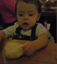 Baby feels dough for the first time