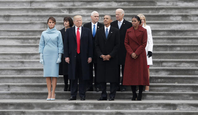 Slide 41 de 76: Former president Barack Obama (front, 2nd R) and President Donald Trump (front, 2nd L) pose with Michelle Obama (front R), Melania Trump (L), and (back row, L-R) Karen Pence, Vice President Mike Pence, former Vice President Joe Biden and Dr. Jill Biden f