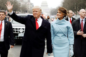 US President Donald Trump gives his inaugural address during ceremonies at the U...