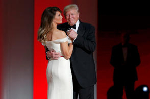 President Trump and his wife, first lady Melania Trump, dance their first dance ...