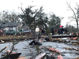 "Trees and debris cover the ground after a tornado tornado ripped through the Hattiesburg, Miss., area early Saturday, Jan. 21, 2017. Mayor Johnny DuPree has signed an emergency declaration for the city, which reported ""significant injuries"" and structural damage."