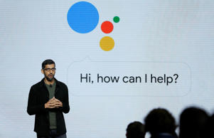 FILE - In this Tuesday, Oct. 4, 2016, file photo, Google CEO Sundar Pichai talks about the new Google Assistant during a product event, in San Francisco. Google's voice assistant, simply known as Google Assistant