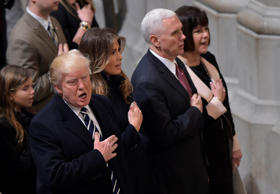 US President Donald Trump, First Lady Melania Trump, Vice President Mike Pence a...