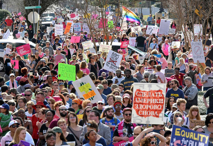 A large crowd gathers at the Capitol for the Women's March on Jackson, Miss., as people across the nation rally in support of women's rights Saturday, Jan. 21, 2017.