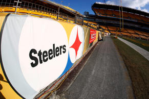This is the Steelers logo at Heniz Field before an AFC Wild Card NFL football ga...