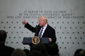 U.S. President Donald Trump delivers remarks during a visit to the Central Intelligence Agency (CIA) in Langley, Virginia U.S. January 21, 2017.