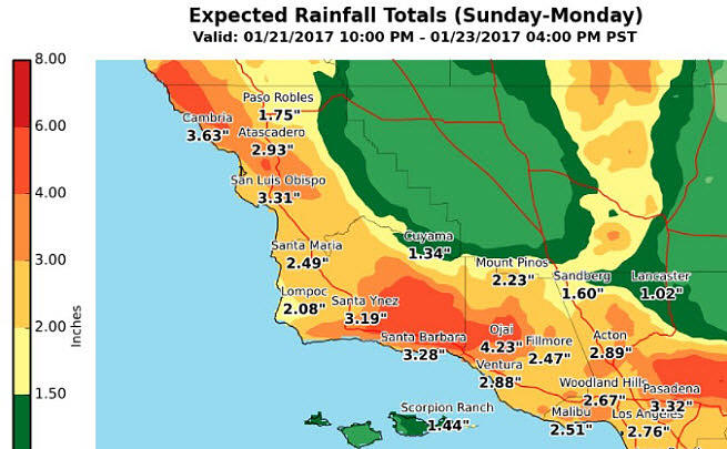 Rainfall totals for Sunday and Monday in the greater northern Los Angeles area.