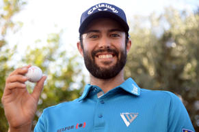 Adam Hadwin poses for a picture with a golf ball after shooting a score of 59 during the third round of the CareerBuilder Challenge at La Quinta Country Club on Saturday.