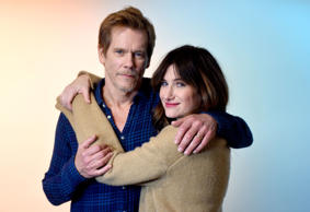Actors Kevin Bacon (L) and Kathryn Hahn from the film 'I Love Dick' pose for a portrait in the WireImage Portrait Studio presented by DIRECTV during the 2017 Sundance Film Festival on January 22, 2017 in Park City, Utah.