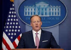 White House spokesman Sean Spicer holds a press briefing at the White House in Washington Jan. 23, 2017.