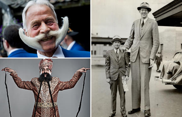 Διαφάνεια 1 από 22: <p>(Clockwise) Karl-Heinz Hille; Robert Wadlow; Ram Singh Chauhan</p><p>Do you know who has the longest beard? Or who's the tallest man ever? Here's a look at some of the amazing people who have made it to the Guinness World Records with their uniqueness.</p>