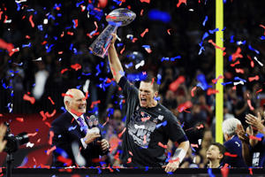 Tom Brady #12 of the New England Patriots holds the Vince Lombardi Trophy after defeating the Atlanta Falcons 34-28 during Super Bowl 51 at NRG Stadium on Feb. 5, in Houston, Texas.