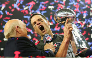 HOUSTON, TX - FEBRUARY 05:  Tom Brady #12 of the New England Patriots holds the Vince Lombardi Trophy after defeating the Atlanta Falcons 34-28 in overtime during Super Bowl 51 at NRG Stadium on February 5, 2017 in Houston, Texas.  (Photo by Tom Penningt