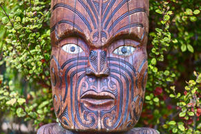 ROTORUA, NEW ZEALAND - 30 JANUARY 2015: Maori tribes ancient traditional village. Handmade wooden details. Vicinity of Rotorua town , New Zealand.