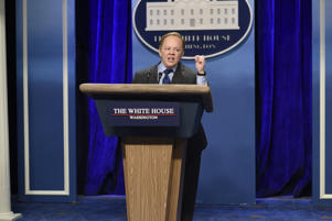 "Melissa McCarthy as Press Secretary Sean Spicer during the ""Sean Spicer Press Conference"" sketch on February 4th, 2017"