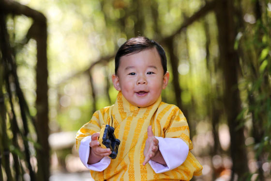 Slide 1 of 45: The Crown Prince of the Kingdom of Bhutan, Prince Jigme Namgyel Wangchuck smiles in the Lingkana Palace in Thimphu, Bhutan, 30 January 2017. He is the son of King Jigme Khesar Namgyel Wangchuck and Queen Jetsun Pema. He will celebrate his first birthday on the 5 February 2017.