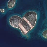 HEART ISLAND, GALESNJAK, CROATIA - FEBRUARY 16, 2013:  This is a satellite image of Heart Isalnd, Galesnjak, Croatia collected on February 16, 2013.  (Photo DigitalGlobe via Getty Images)