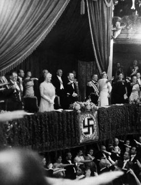 Slide 3 of 17: BERLIN, GERMANY - AUGUST 25: Admiral von Horthy the Hungarian Regent and his wife Frau Magda von Horthy at Berlin Opera for Richard Wagner's Lohengrin performance with Adolf Hitler on August 25, 1938 in Berlin, Germany. (Photo by Keystone-France/Gamma-Keystone via Getty Images)