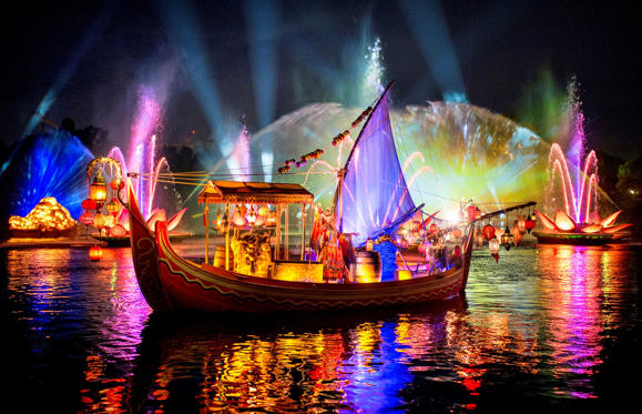 Slide 1 of 15: Rivers of Light is an all-new nighttime show at Disney's Animal Kingdom at Walt Disney World Resort. Rich in symbolism and storytelling, the elaborate theatrical production takes guests on a breathtaking emotional journey -- a visual mix of water, fire, nature and light all choreographed to an original musical score. Rivers of Light will be performed on select nights. (Kent Phillips, photographer)