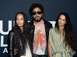 LOS ANGELES, CA - FEBRUARY 10:  Musician Lenny Kravitz (center) and actresses Zoe Kravitz (L) and Lisa Bonet R) attend the Saint Laurent show at The Hollywood Palladium on February 10, 2016 in Los Angeles, California.  (Photo by Kevork Djansezian/Getty I