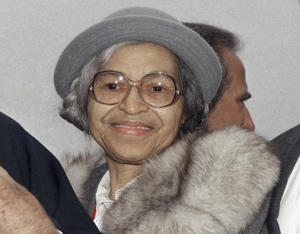 In this Oct. 28, 1986 file photo, Rosa Parks is shown at Ellis Island in New York.