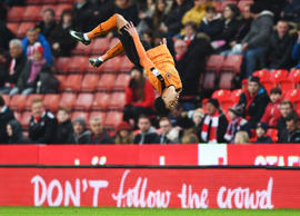 Hélder Costa of Wolverhampton Wanderers celebrates after scoring his sides first goal during The Emirates FA Cup Third Round match between Stoke City and Wolverhampton Wanderers at Bet365 Stadium on January 7, 2017.