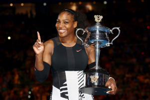 Serena Williams poses with the Daphne Akhurst Trophy after winning the 2017 Australian Open Women's Singles Final against Venus Williams on Jan. 28 in Melbourne, Australia.