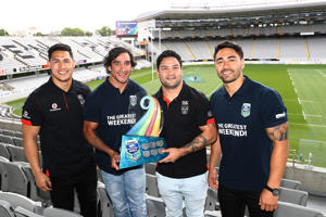 Roger Tuivasa-Scheck, Johnathan Thurston, Issac Luke and Shaun Johnson with the NRL Nines trophy.
