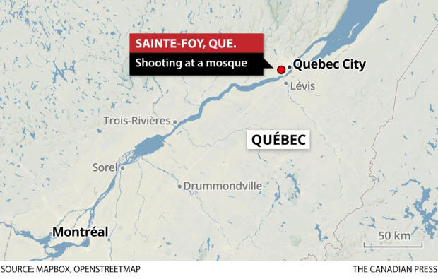 A few dozen people were inside the Islamic cultural centre of Quebec in the Sainte-Foy neighbourhood when the shooting began just after 8 p.m. (Canadian Press)