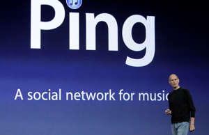 FILE - In this Sept. 1, 2010 file photo, Apple CEO Steve Jobs unveils Ping, a social network for music, at a news conference in San Francisco. Ping, is a potentially useful addition to iTunes, letting you see what songs your friends are buying and where your favorite bands are playing next.