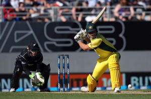 Australia's Marcus Stoinis plays a shot on during the one-day international (ODI) cricket match between Australia and NZ at Eden Park