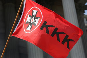 A Ku Klux Klan flies during a Klan demonstration at the state house building on July 18, 2015 in Columbia, SC.