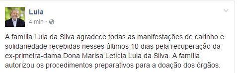 Lula agradece apoio