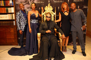Fashion designer David Tlale is flanked by businessman Sammy Mashita and his wife Phaladi, Nandi Molefe and her husband, radio personality Thabo Tbo Touch Molefe the launch of the David Tlale Premium Gala at the Saxon Hotel in Johannesburg, South Africa. Tlale, an award-winning fashion designer hosted VIPs to show off his concept, which is set to take place annually on Valentine's Day.