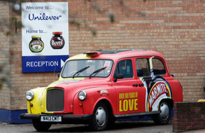 A branded taxi stands outside Unilever's Marmite factory in Burton upon Trent