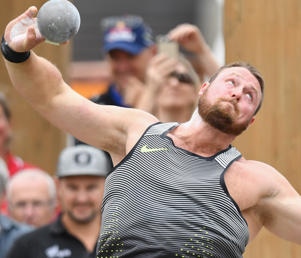 Tom Walsh of New Zealand competes in the Men's Shot Put Final during The Big Shot and Fast K at Retro Sports Facility