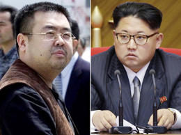 FILE - This combination of file photos shows Kim Jong Nam, left, exiled half-brother of North Korea's leader Kim Jong Un, in Narita, Japan, on May 4, 2001, and North Korean leader Kim Jong Un on May 9, 2016, in Pyongyang.