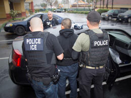 In this Tuesday, Feb. 7, 2017, photo released by U.S. Immigration and Customs Enforcement shows foreign nationals being arrested this week during a targeted enforcement operation conducted by U.S. Immigration and Customs Enforcement (ICE) aimed at immigration fugitives, re-entrants and at-large criminal aliens in Los Angeles.