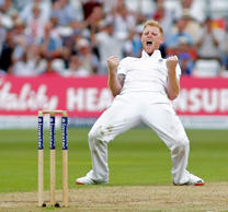 NOTTINGHAM, ENGLAND - AUGUST 7: Ben Stokes of England celebrates taking the wicket of Peter Nevill of Australia during day two of the 4th Investec Ashes Test match between England and Australia at Trent Bridge on August 7, 2015 in Nottingham, United King