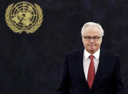 In this Thursday, March 27, 2014, file photo, Russian ambassador to the United Nations Vitaly Churkin returns to his seat after speaking at United Nations headquarters. Russian officials said Churkin died suddenly in New York City on Monday, Feb. 20, 2017.
