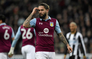 Villa player Henri Lansbury reacts during the Sky Bet Championship match between Newcastle United and Aston Villa