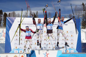 French biathletes celebrate winning the women's patrol race held at Sochi's Laur...