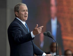 In this Sept. 24, 2016 file photo, former President George W. Bush speaks in Was...