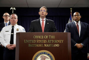 U.S. Attorney for the District of Maryland Rod J. Rosenstein speaks at a news conference in Baltimore on Wednesday.