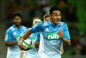 Rieko Ioane makes a run during the Blues round one win over the Rebels.