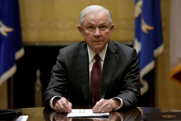 U.S. Attorney General Jeff Sessions holds his first meeting with heads of federal law enforcement components at the Justice Department. in Washington U.S., February 9, 2017.
