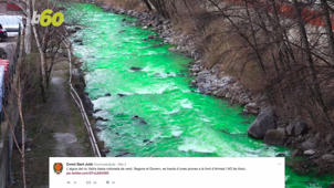 River in Europe Turns Bright Green