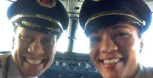 Delta's Capt. Stephanie Johnson, left, and First Officer Dawn Cook made a historic flight.