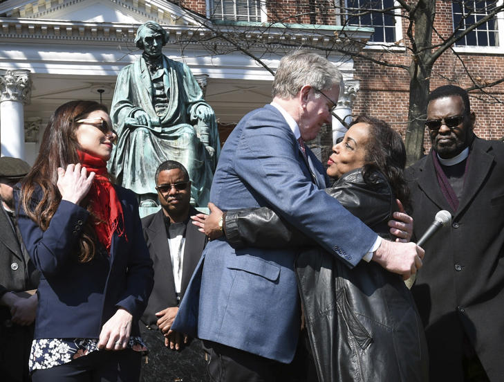 Lynne Jackson, a descendant of Dred Scott, right, hugs Charles Taney III, a descendant of U.S. Supreme Court Chief Justice Roger Taney on the 160th anniversary of the Dred Scott decision in front of the Maryland State House, Monday, March 6, 2017, in Annapolis, Md. On March 6, 1857, the U.S. Supreme Court, in Dred Scott v. Sandford, ruled 7-2 that Scott, a slave, was not an American citizen and therefore could not sue for his freedom in federal court.