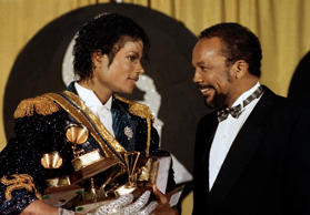 FILE - In this Feb. 28, 1984 file picture, Michael Jackson holds his awards as he stands with Quincy Jones at the Grammy Awards at Shrine Auditorium in Los Angeles. Jackson has died in Los Angeles at the age of 50 on Thursday, June 25, 2009.